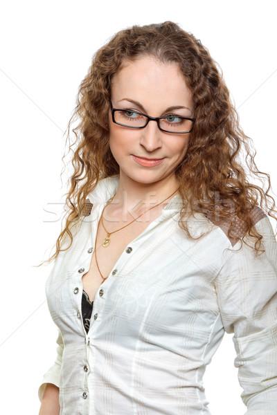 Brunette vrouw witte portret zakenvrouw meisje Stockfoto © jagston