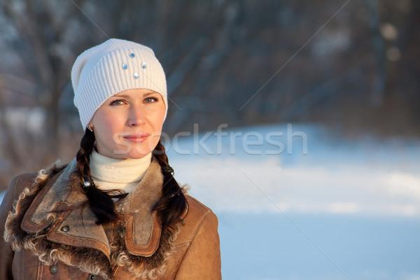 Winter schoonheid outdoor portret cute meisje Stockfoto © jagston