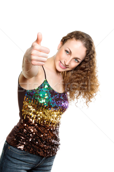 Young frizzy woman with thumb up Stock photo © jagston