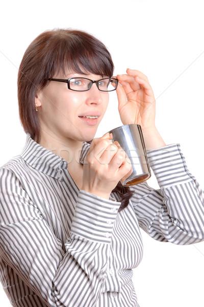 Mooie vrouw bretels vrouw glimlach glas metaal Stockfoto © jagston