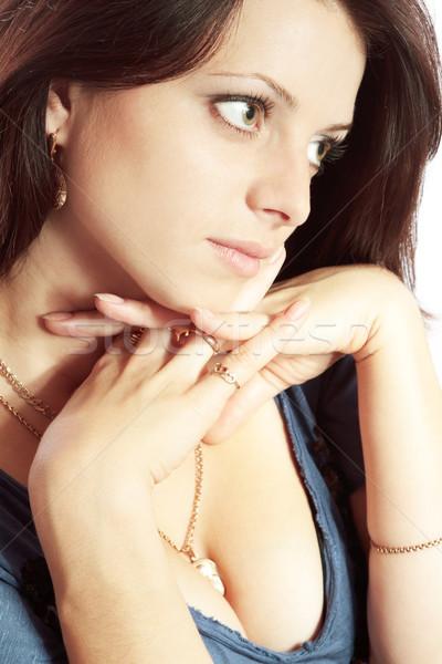 Portret jonge brunette vrouw handen Stockfoto © jagston