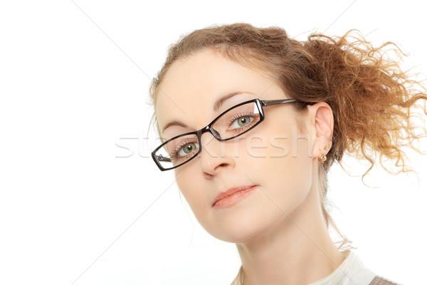 Portret jonge vrouw bril geïsoleerd witte vrouw Stockfoto © jagston