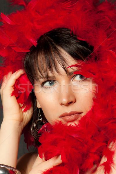 Vrouw Rood schoonheid portret huid jonge Stockfoto © jagston