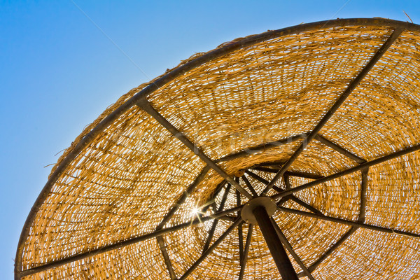 Low view of parasol against blue sky Stock photo © jagston