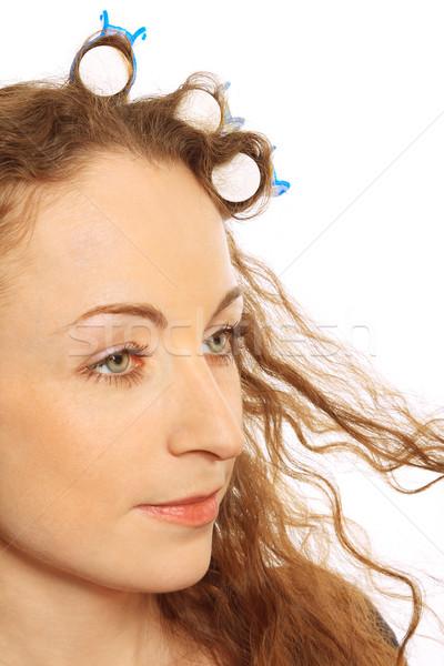 Vrouw haren geïsoleerd witte model achtergrond Stockfoto © jagston