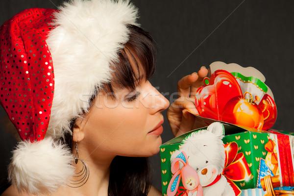 Christmas geschenk meisje cap gelukkig grappig Stockfoto © jagston