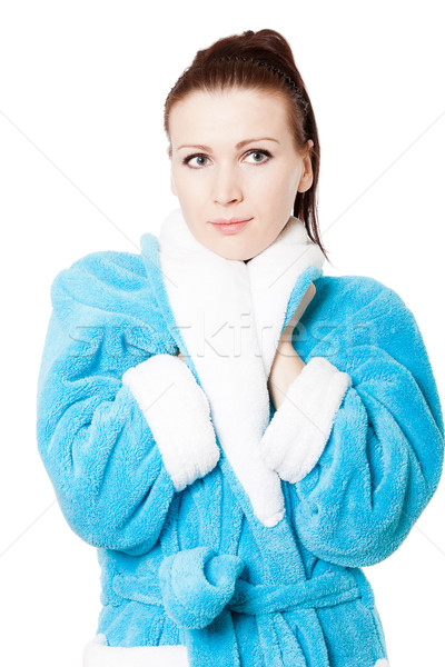 Jonge aantrekkelijke vrouw badjas witte hand geïsoleerd Stockfoto © jagston