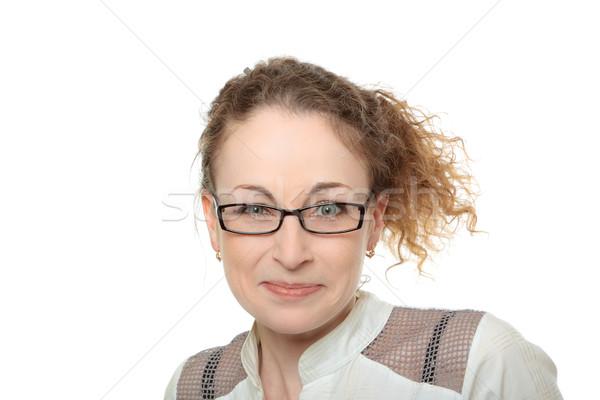 Jonge gekruld vrouw bril grappig verwonderd Stockfoto © jagston