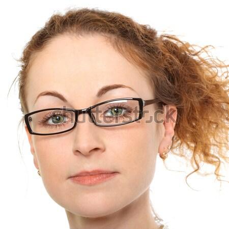 Jonge vrouw verwonderd kijken geïsoleerd witte vrouw Stockfoto © jagston