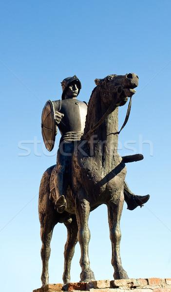 Sculptuur ridder kasteel man oorlog zwaard Stockfoto © jakatics