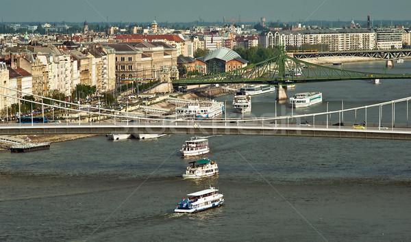 Hajók Duna Budapest Magyarország ház épület Stock fotó © jakatics