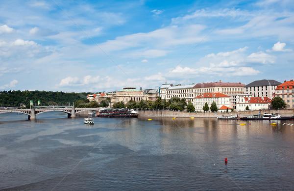 Kilátás Prága folyó épület város nyár Stock fotó © jakatics