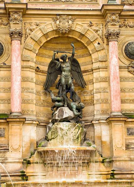 Saint Michel fountain in Paris Stock photo © jakatics