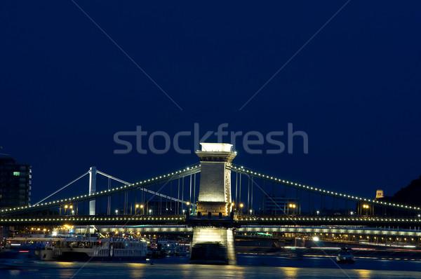 Köprüler Budapeşte gece köprü gemi Avrupa Stok fotoğraf © jakatics