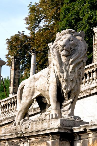 Leone figura radice castello Budapest Ungheria Foto d'archivio © jakatics