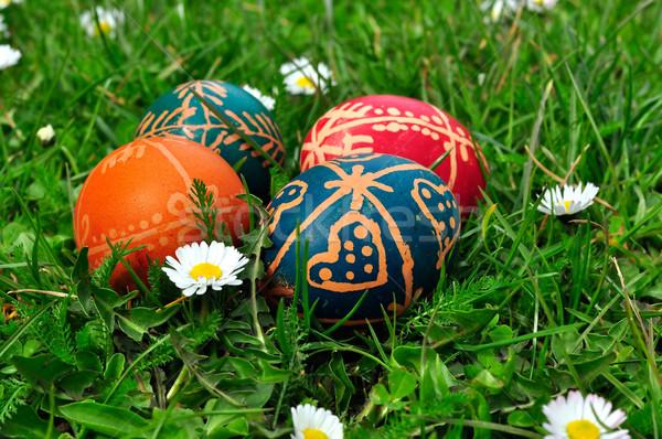 Húsvéti tojások fű boldog tojás minta ünnep Stock fotó © jakatics