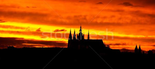Prag kale gün batımı gökyüzü şehir yaz Stok fotoğraf © jakatics