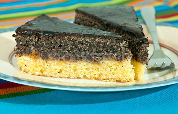 Haşhaş tohum kek plaka gıda tablo Stok fotoğraf © jakatics