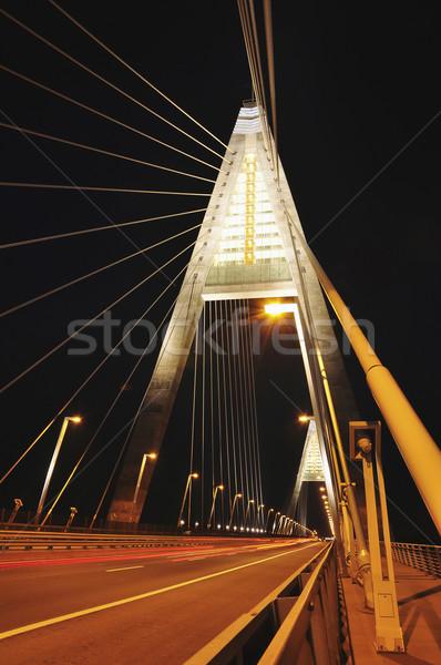 Nuovo ponte notte fiume danubio Budapest Foto d'archivio © jakatics