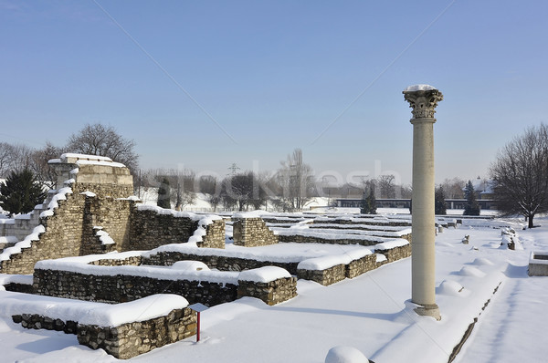 Roma ören Budapeşte Macaristan kış eski Stok fotoğraf © jakatics