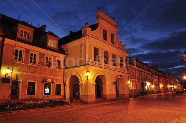 View of sandomierz in the night Stock photo © jakatics