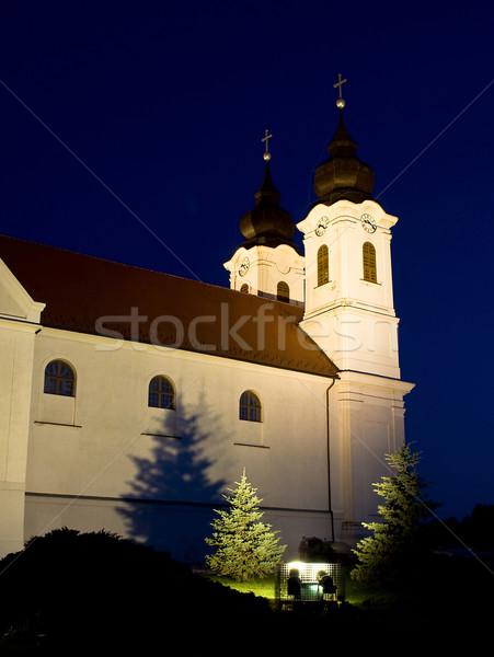 Abdij nacht Hongarije muur kruis kerk Stockfoto © jakatics