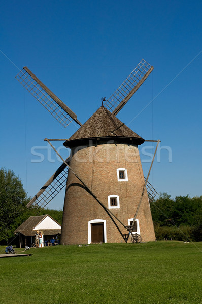 古い 風車 ハンガリー 家 食品 草 ストックフォト © jakatics