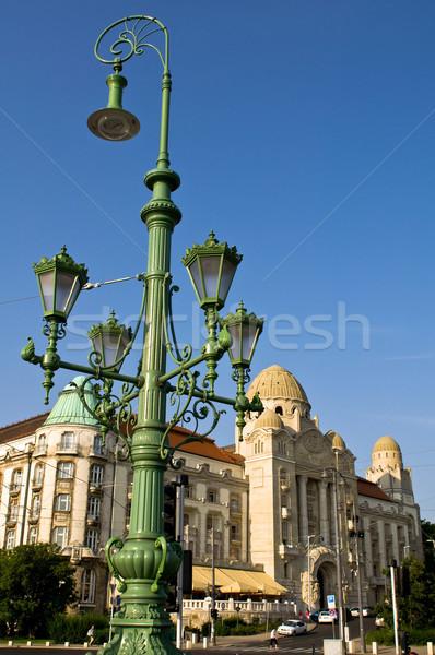 Utcalámpa gyönyörű hotel Budapest Magyarország épület Stock fotó © jakatics