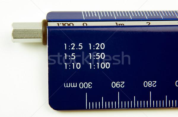 Kék vonalzó közelkép iroda diák oktatás Stock fotó © jakatics