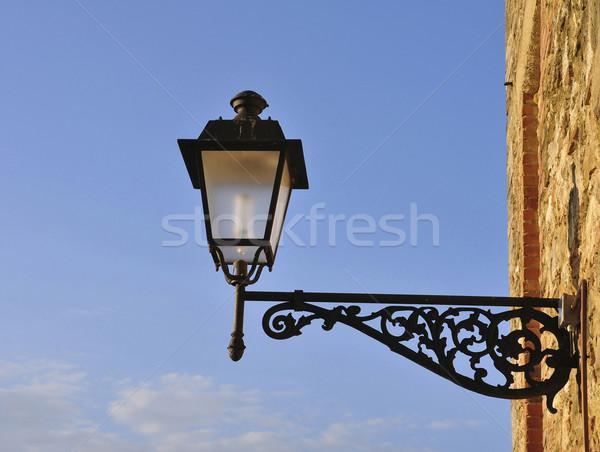 Utcalámpa fal ház épület kék lámpa Stock fotó © jakatics