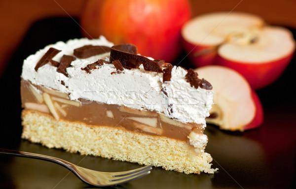 Elma kek peynir plaka çikolata Stok fotoğraf © jakatics