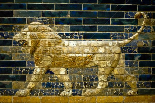 Oroszlán kapu múzeum Berlin művészet kék Stock fotó © jakatics