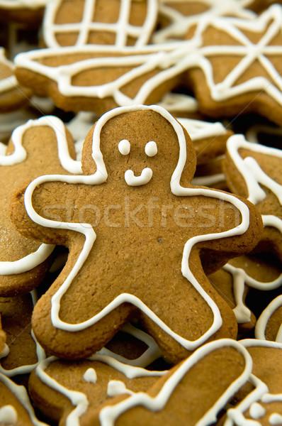 Zencefilli çörek kurabiye ağaç adam star beyaz Stok fotoğraf © jakatics