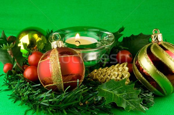 Noel süsler yeşil aile ışık kış Stok fotoğraf © jakatics