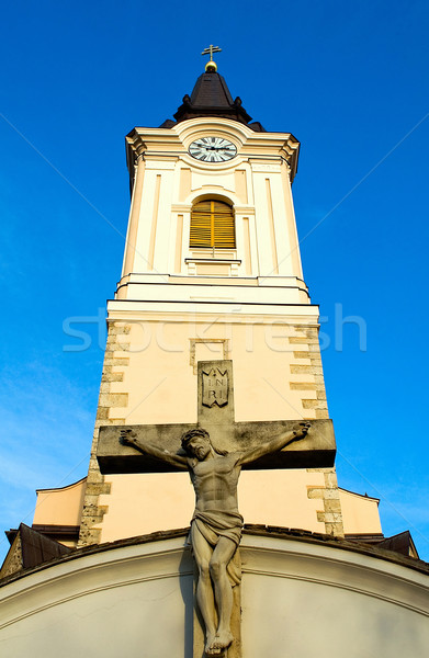 Catholic church with the crucifix Stock photo © jakatics