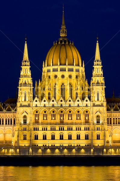Parlament éjszaka Budapest Magyarország égbolt fény Stock fotó © jakatics