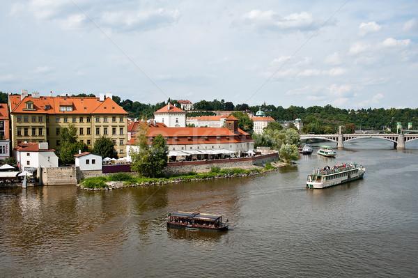 Prag görmek nehir Bina şehir yaz Stok fotoğraf © jakatics