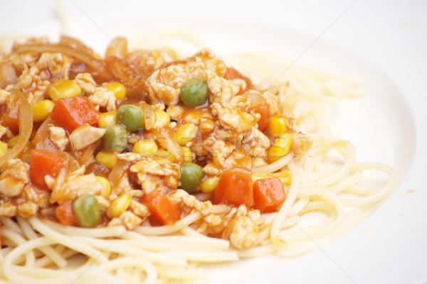 Spagetti sos gıda restoran akşam yemeği Stok fotoğraf © jakgree_inkliang