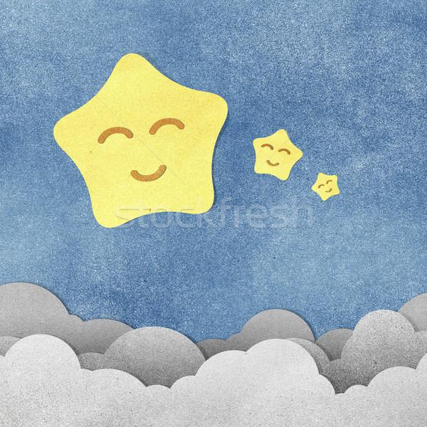 Grunge papír textúra csillag éjszaka víz papír Stock fotó © jakgree_inkliang