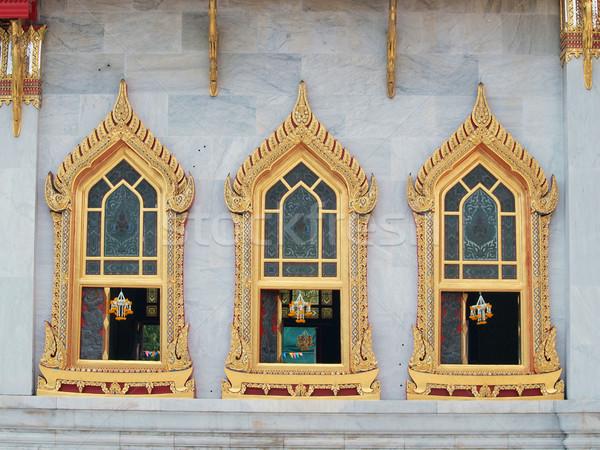 traditional Thai style windows in Benjamaborphit temple Stock photo © jakgree_inkliang