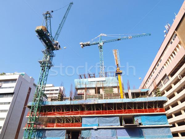 állványzat építkezés lakások égbolt otthon keret Stock fotó © jakgree_inkliang