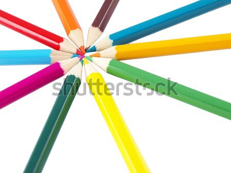 Color pencils in arrange in color wheel colors Stock photo © jakgree_inkliang