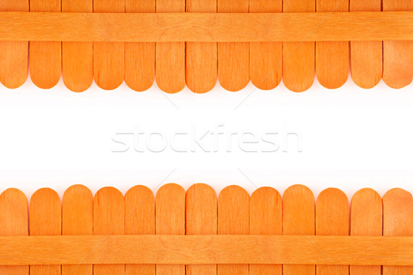 Turuncu ahşap çit beyaz uzay doku Stok fotoğraf © jakgree_inkliang