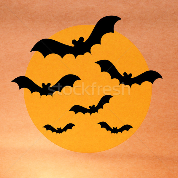 Halloween night with bat and full moon on grunge background Stock photo © jakgree_inkliang