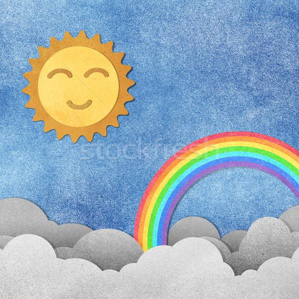 Grunge kağıt dokusu sevimli güneş gökkuşağı gökyüzü Stok fotoğraf © jakgree_inkliang