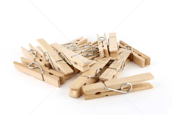 Heap braun Holz Tuch Pin isoliert Stock foto © jakgree_inkliang
