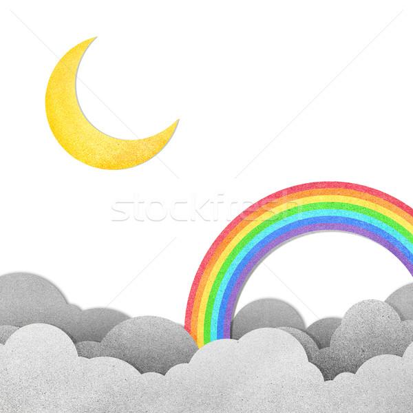 Grunge Papierstruktur Mond Regenbogen Himmel Wasser Stock foto © jakgree_inkliang
