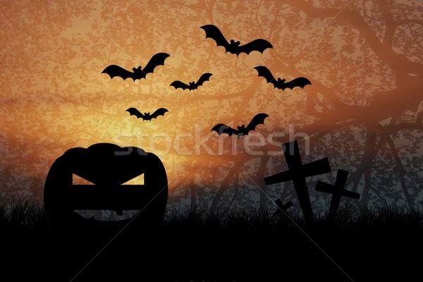 Halloween Nacht Silhouette Zweig Baum Sonne Stock foto © jakgree_inkliang