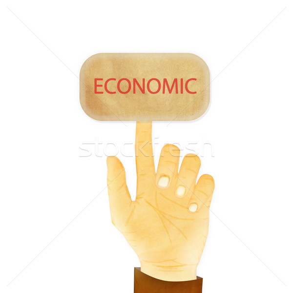 Paper texture ,Hand gesture pointing at economic Stock photo © jakgree_inkliang