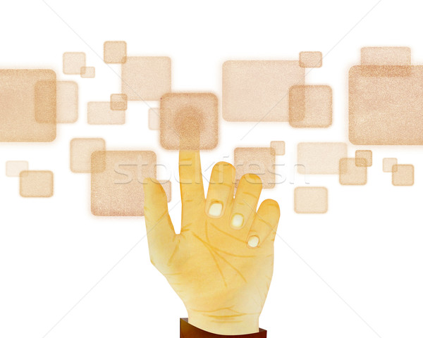 Paper texture ,Hand gesture pushing button on touch screen on wh Stock photo © jakgree_inkliang